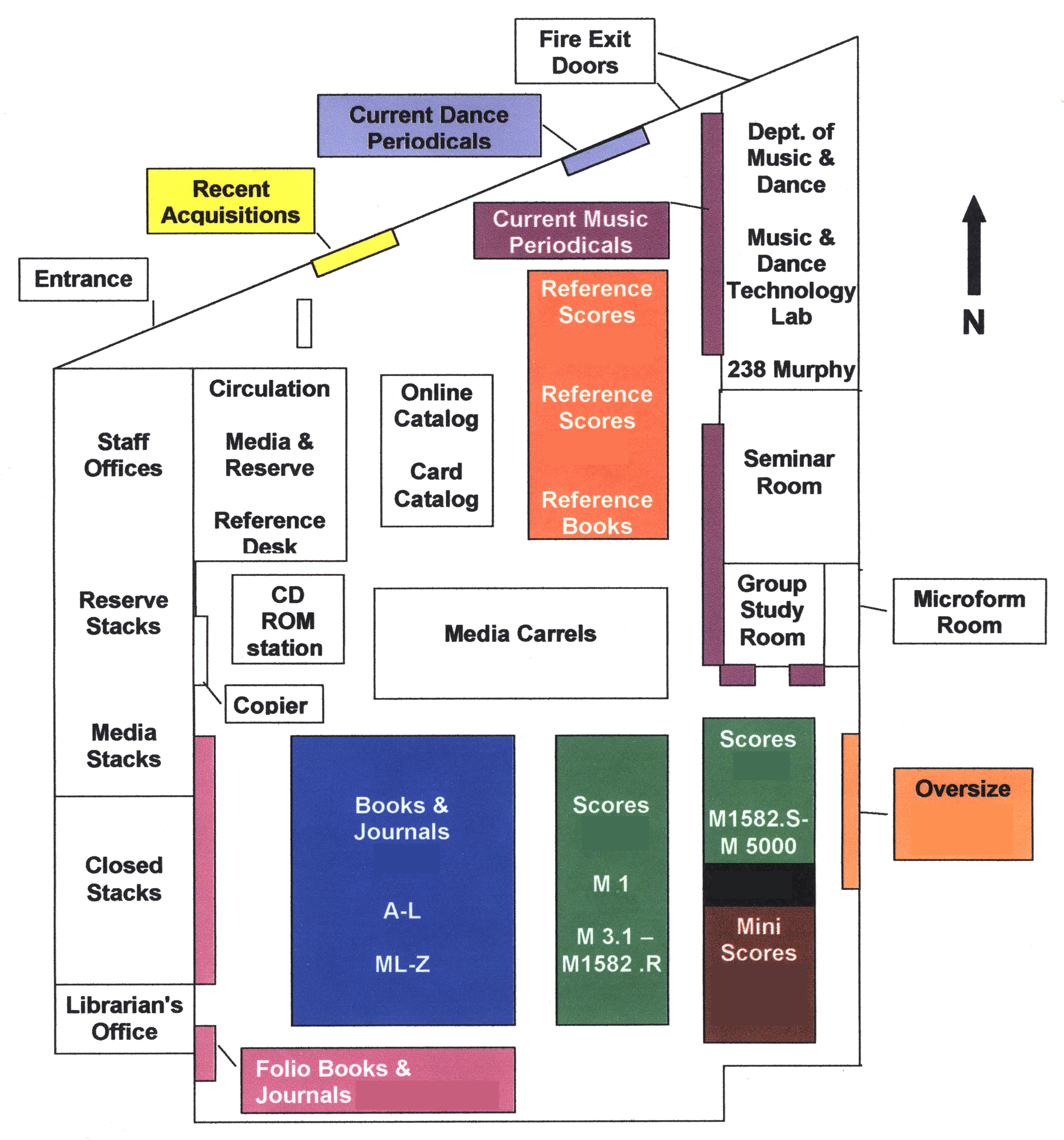 Floormap of the Music and Dance Library