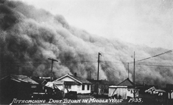 Approaching Dust Storm in Middle West, 1935. Courtesy of the Kansas Collection, Kenneth Spencer Research Library.
