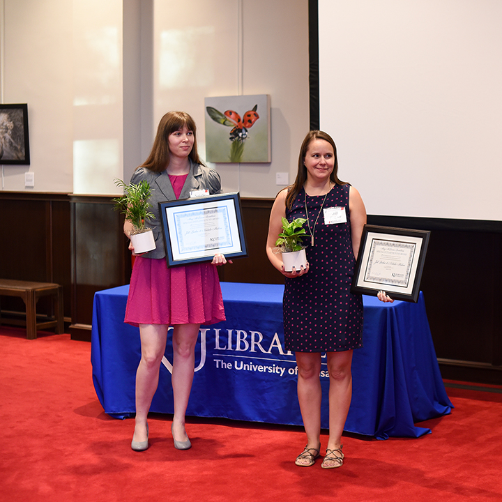 Natalie Mahan and Jill Becker receiving the Mary McCorison Rosenbloom Award