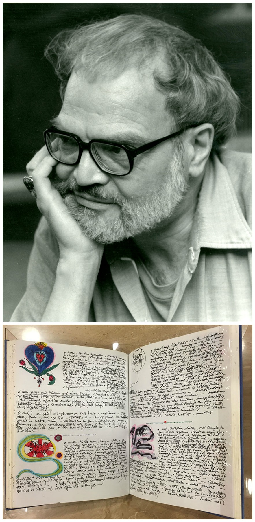 Image of late poet Kenneth Irby and his journal