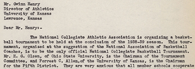 1939 NCAA Tournament letter