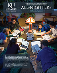 KU Libraries: The Official Sponsor of All Nighters (appeared in November 2013 issue of Kansas Alumni magazine)